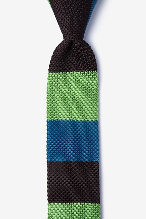 _Belgian Color Block Brown Knit Skinny Tie_
