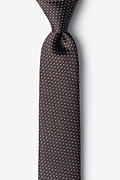 Brown Silk Buton Skinny Tie