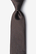 Brown Silk Buton Tie
