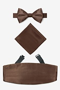 Brown Silk Cocoa Brown Pretied Bow Tie Cummerbund Set