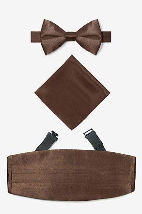 _Cocoa Brown Pretied Bow Tie Cummerbund Set_