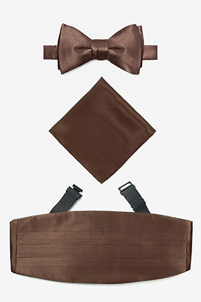 Cocoa Brown Self Tie Bow Tie Cummerbund Set