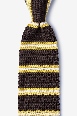 _Maltese Stripe Brown Knit Tie_