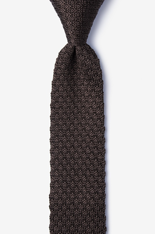 Textured Solid Brown Knit Skinny Tie Photo (0)