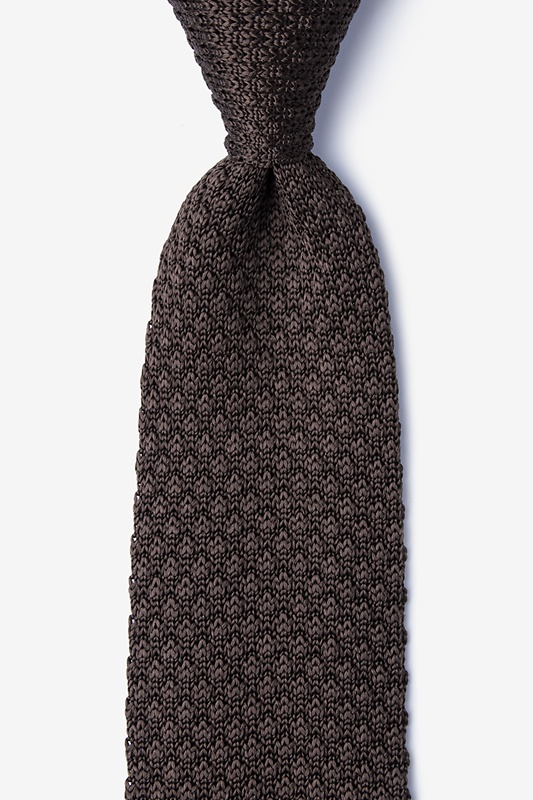 Textured Solid Brown Knit Tie Photo (0)