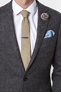 Brown Piped Flower Lapel Pin