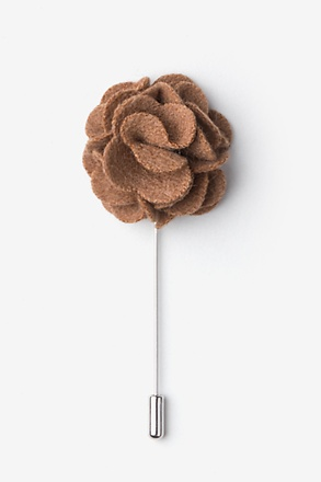 Brown Wool Felt Flower Lapel Pin