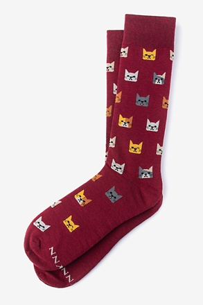 Kitty Cat Burgundy Sock