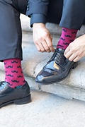 Mustache Burgundy Sock Photo (1)