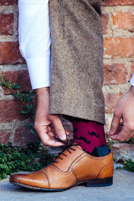 Mustache Burgundy Sock Photo (3)