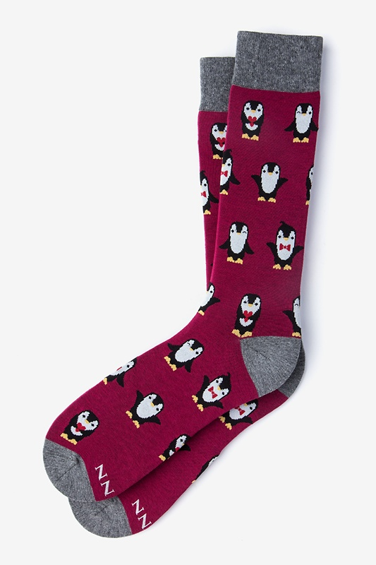 Penguins are Chill Burgundy Sock Photo (0)
