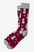 Burgundy Carded Cotton Santa's Lil' Yelpers Sock