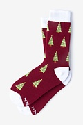 Burgundy Carded Cotton Tinsel Toes Women's Sock