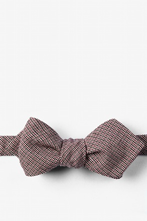 Burgundy Andrew Plaid Diamond Tip Bow Tie