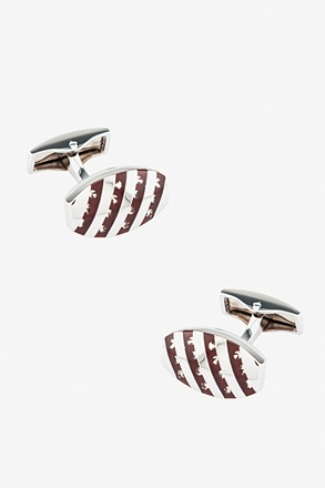 Diagonal Striped Oval Cufflinks