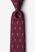Burgundy Microfiber Antique Keys Tie