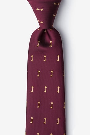Antique Keys Burgundy Tie