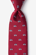 Bicycles Burgundy Extra Long Tie Photo (0)
