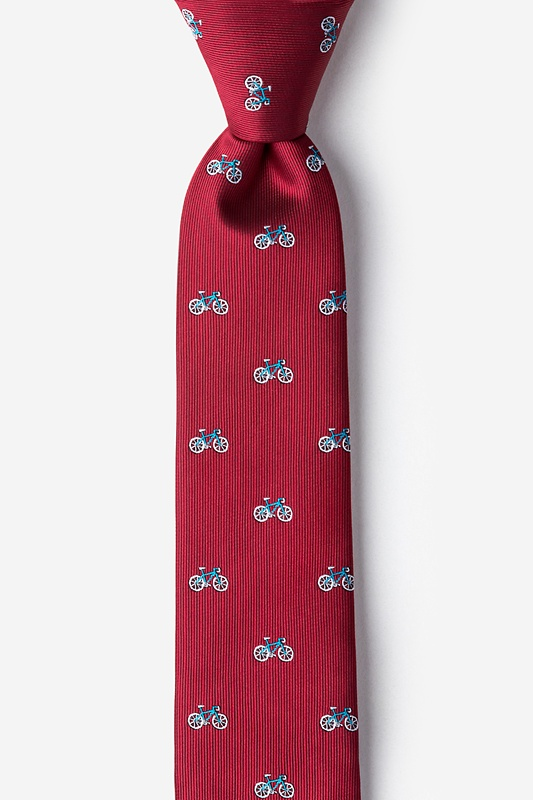 Bicycles Burgundy Skinny Tie Photo (0)