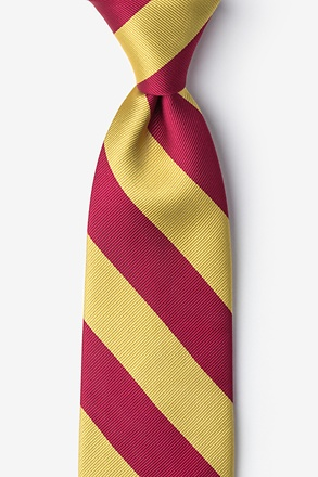 _Burgundy & Gold Stripe Extra Long Tie_