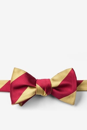 Burgundy & Gold Stripe Self-Tie Bow Tie