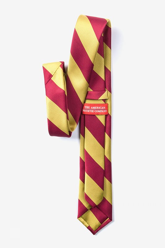 Burgundy & Gold Stripe Tie For Boys