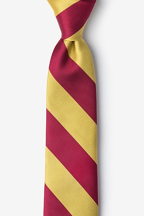 _Burgundy & Gold Stripe Tie For Boys_