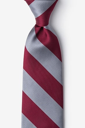 _Burgundy & Gray Stripe Extra Long Tie_