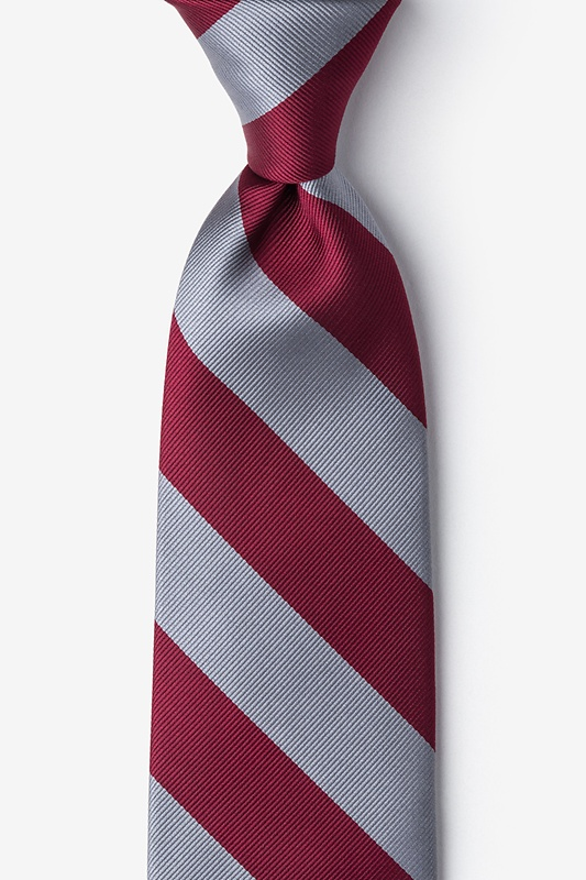 Burgundy & Gray Stripe Extra Long Tie Photo (0)
