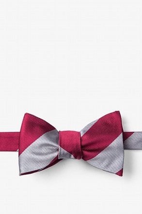 _Burgundy & Gray Stripe Self-Tie Bow Tie_