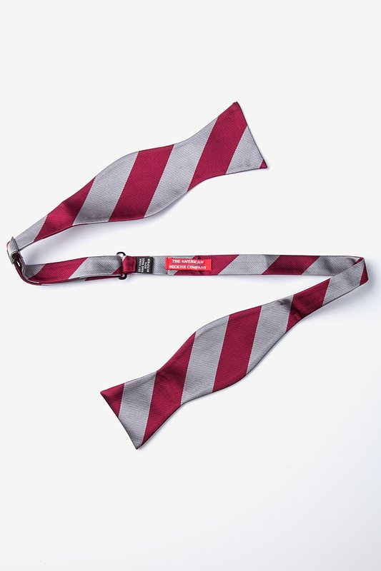 Burgundy & Gray Stripe Self-Tie Bow Tie