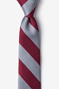 Burgundy Microfiber Burgundy & Gray Stripe Tie For Boys
