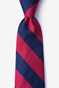 Burgundy & Navy Stripe Extra Long Tie Photo (0)