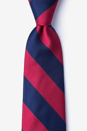 _Burgundy & Navy Stripe Extra Long Tie_