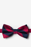 Burgundy & Navy Stripe Pre-Tied Bow Tie Photo (0)