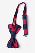 Burgundy & Navy Stripe Pre-Tied Bow Tie Photo (1)