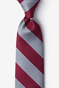 Burgundy & Gray Stripe Extra Long Tie