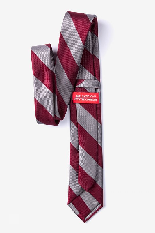 Burgundy & Gray Stripe Tie For Boys