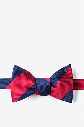 Burgundy & Navy Stripe Self-Tie Bow Tie