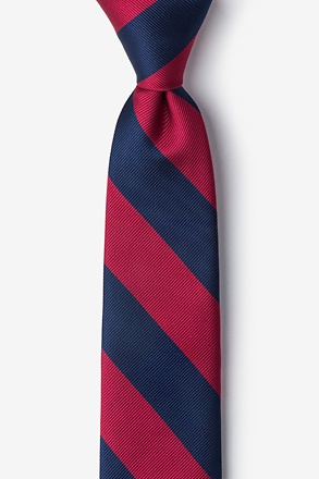 Burgundy & Navy Stripe Tie For Boys