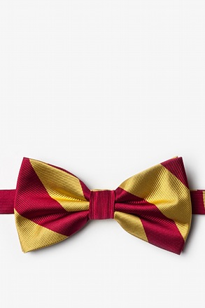 Burgundy And Gold Pre-Tied Bow Tie