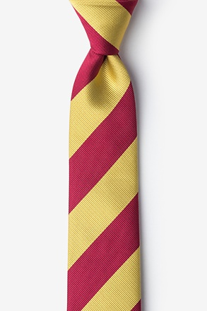 Burgundy And Gold Stripe Skinny Tie