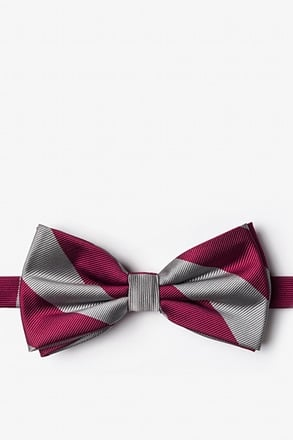 Burgundy And Gray Pre-Tied Bow Tie