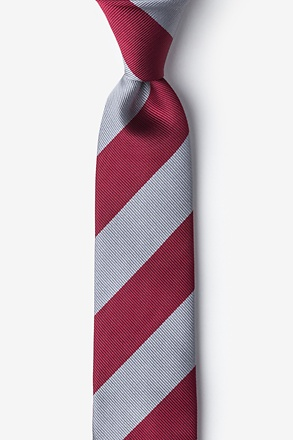 Burgundy And Gray Stripe Skinny Tie