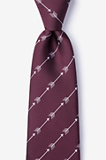 Burgundy Microfiber Flying Arrows Extra Long Tie