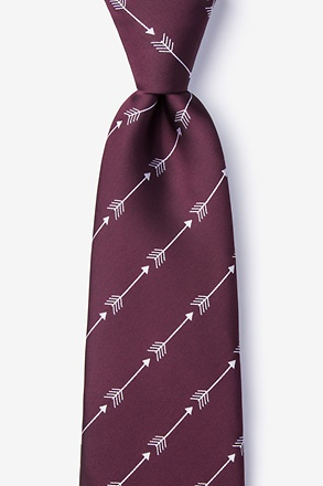 _Flying Arrows Burgundy Extra Long Tie_