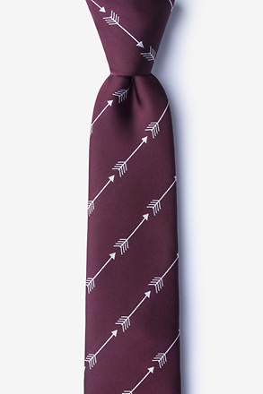 Flying Arrows Burgundy Skinny Tie