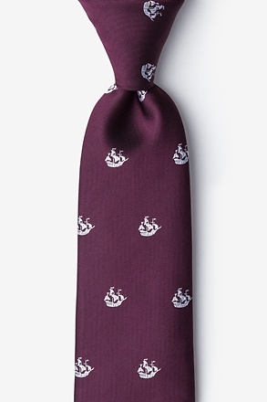 _Ships Ahoy Burgundy Extra Long Tie_