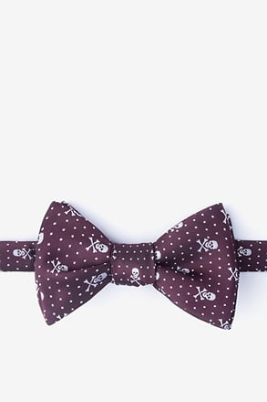Skull and Polka Dot Burgundy Self-Tie Bow Tie