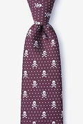 Burgundy Microfiber Skull and Polka Dot Tie